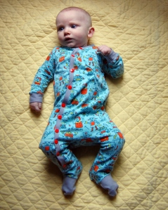 Footie coverall made from Mabel Madison fabrics